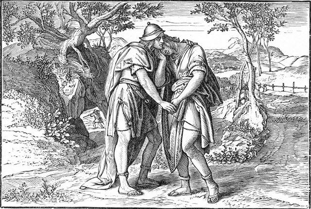 The parting of David and Jonathan I Samuel 20:42