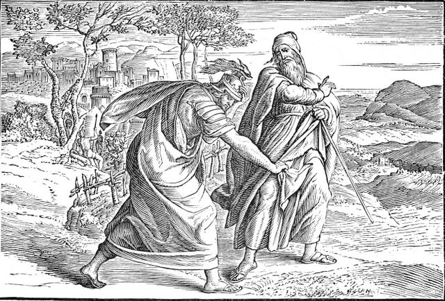 Saul tearing the robe of Samuel I Samuel 15:27-28