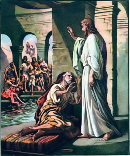 Jesus heals a man by the pool of Bethseda John 5:2-9