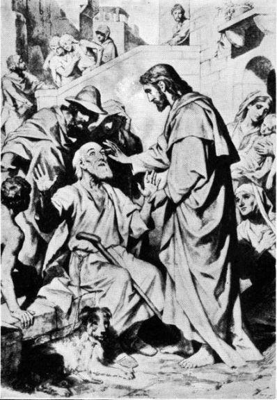 Jesus heals an blind beggar by the road Luke 18:35-43