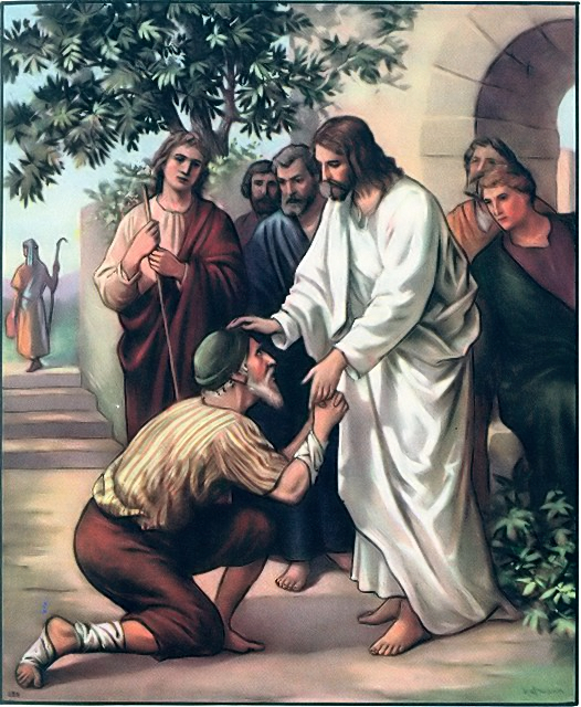 A man cleansed of leprosy Luke 5:12-13