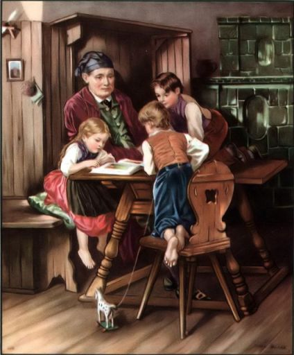 Father and children around a table Psalm 128:3